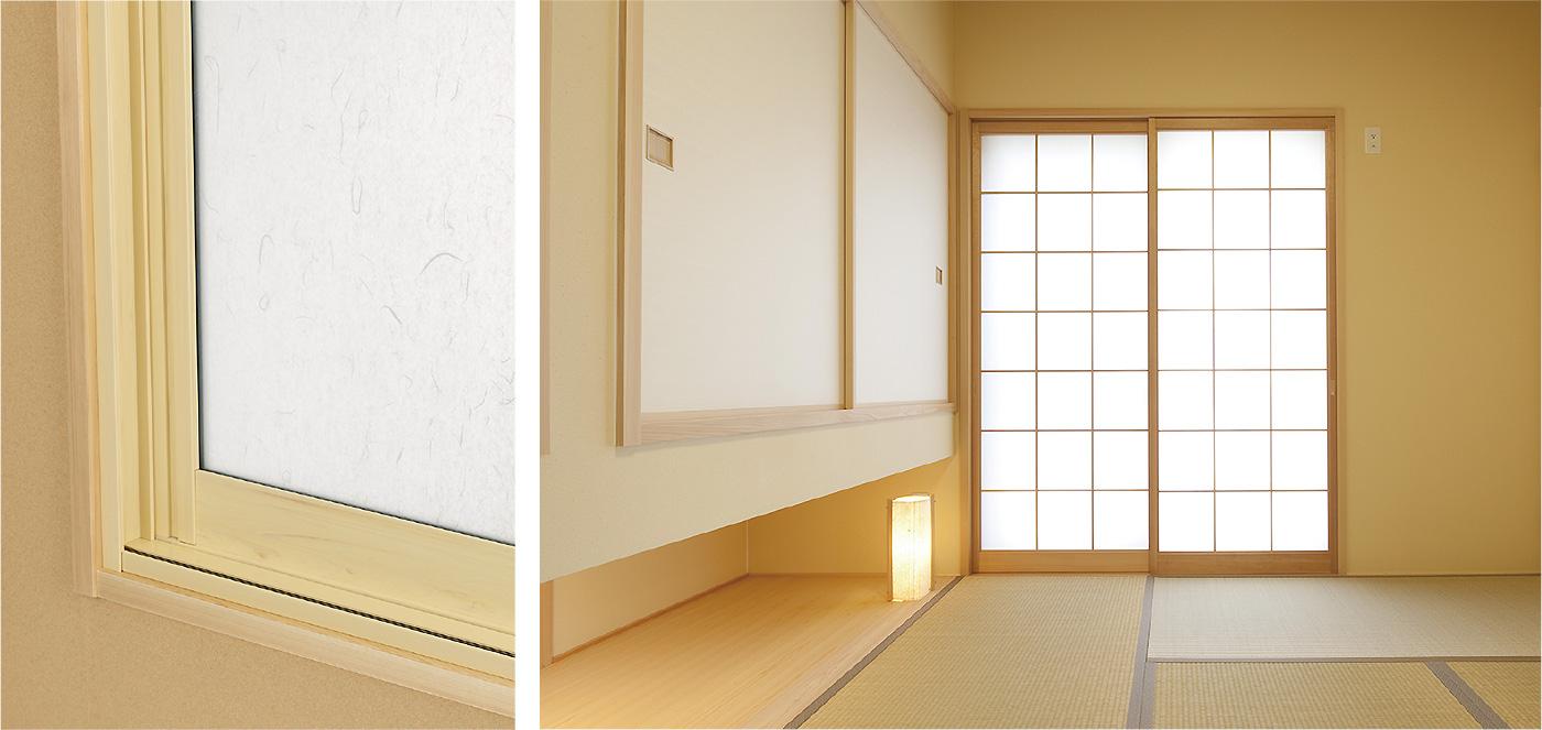 内窓プラストのカラー:ヒノキ(木目調)